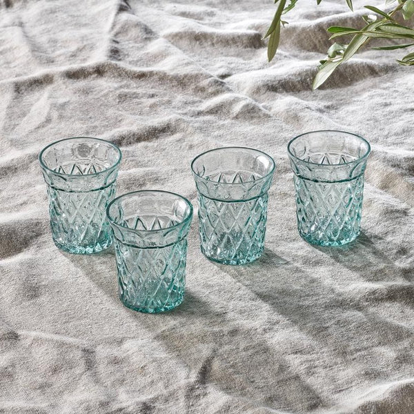 Decorative recycled glass embossed water tumblers set of four