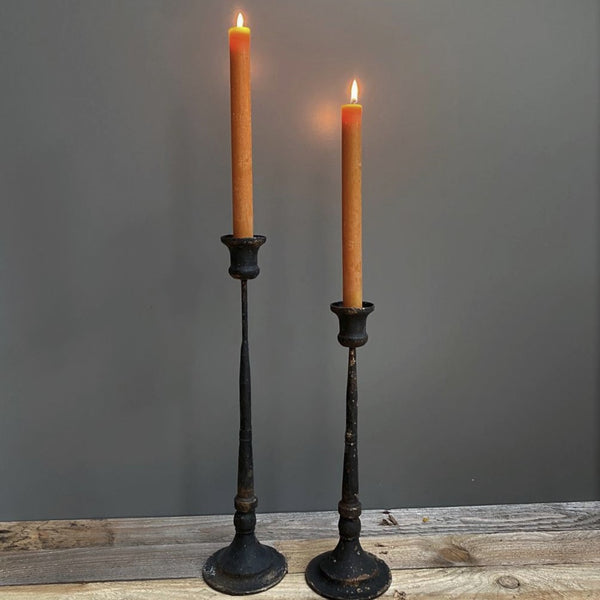 distressed black metal thin candlestick