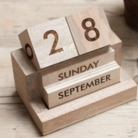 Traditional Wooden Desk Calendar - Greige - Home & Garden - Chiswick, London W4