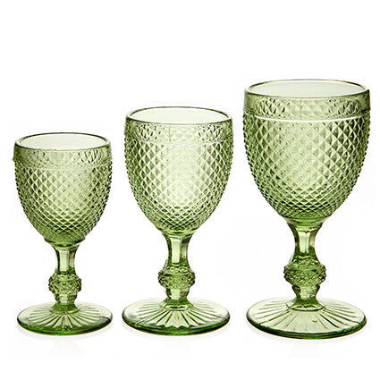 Diamond Wine Glass Large Green made in Portugal