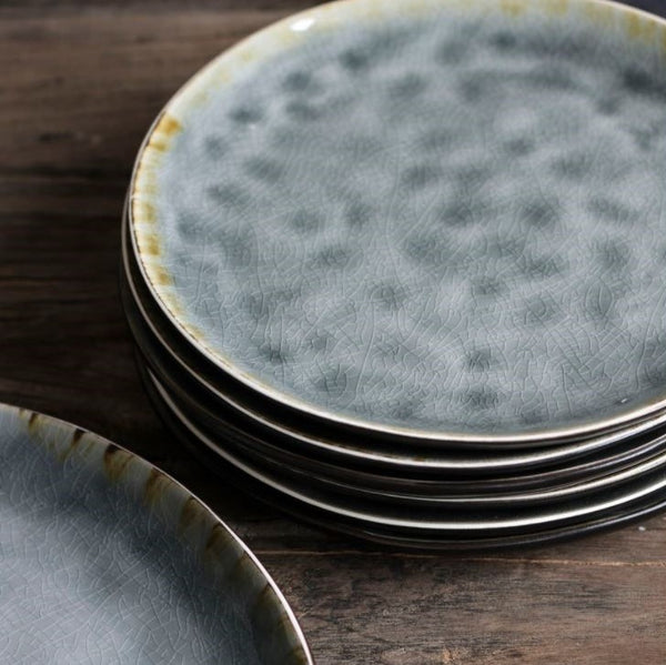 Grey Crackle Stoneware Series - Four Dinner Plates - Greige - Home & Garden - Chiswick, London W4