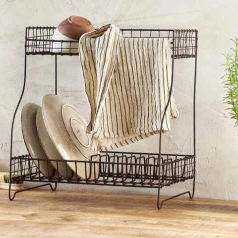Tall Metal Dish Rack with Rust finish