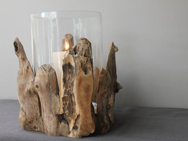 large driftwood and glass hurricane lamp or vase