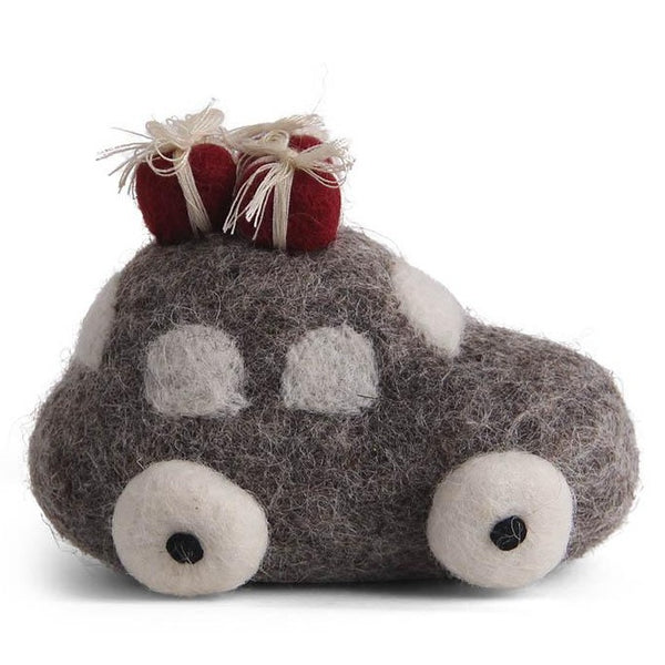 Driving Home for Christmas Hanging Felt Decoration grey