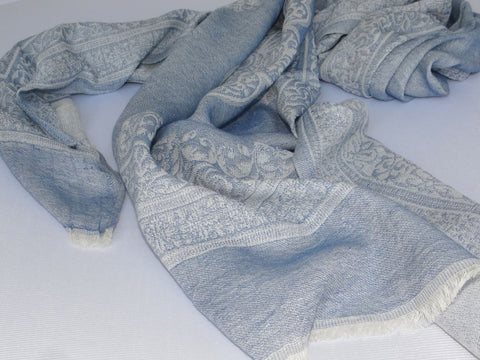 Dusky Blue Emblem Soft Cotton Jacquard Scarf from Jo Edwards
