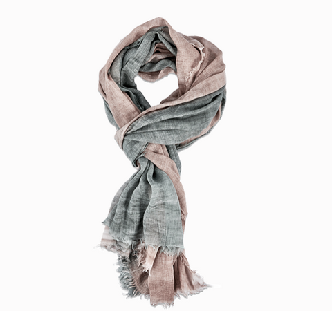 Dip Dyed Pure Cotton Scarf - Dusky Pink with Grey - Greige - Home & Garden - Chiswick, London W4