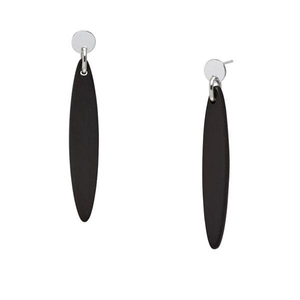 Long Flat Oval Drop Earrings - Black Wood and Silver - Greige - Home & Garden - Chiswick, London W4