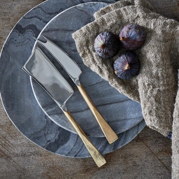 Set of Two Hand-Forged Cheese Knives - Brushed Gold Finish - Greige - Home & Garden - Chiswick, London W4