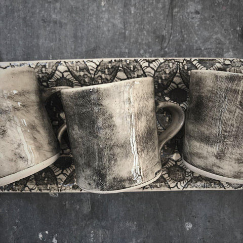 Wonki Ware Espresso Cup - Set of Four on Tray - Charcoal - Greige - Home & Garden - Chiswick, London W4