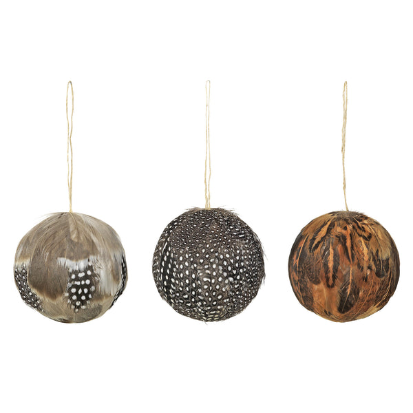 Decorative Feather Balls - Assorted Set of Three - 6.5cm - Greige - Home & Garden - Chiswick, London W4