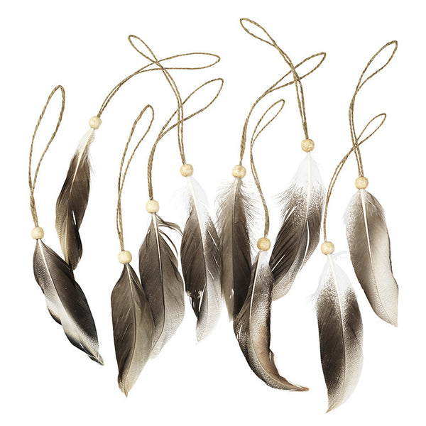 Pack of ten natural feather christmas decorations Broste Copenhagen