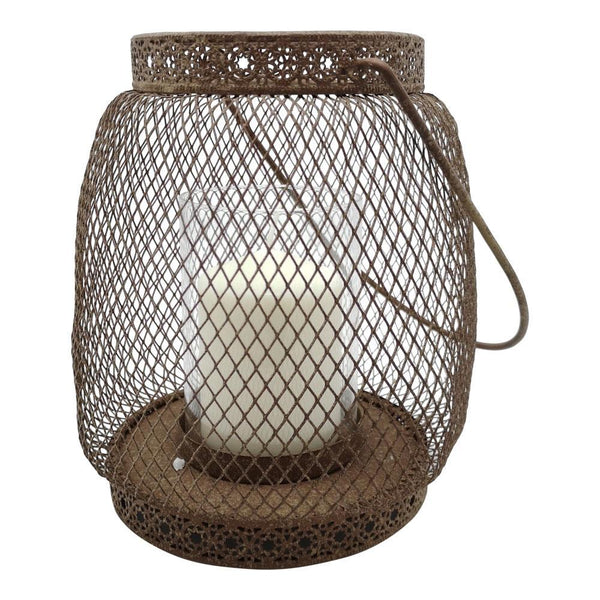 Little intricate wire lantern in antique rust finish
