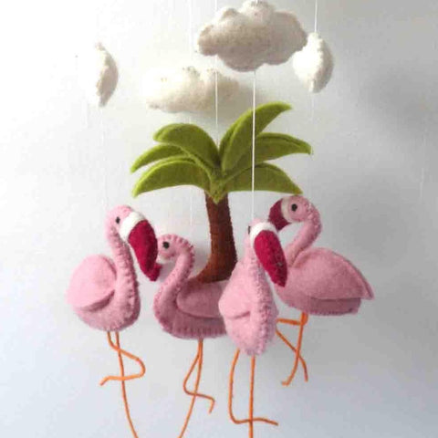 Felt Flamingo Mobile with palm tree and clouds fairtrade