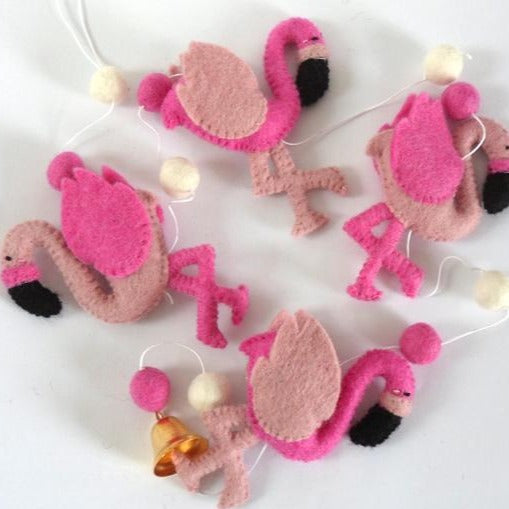 String of Felt Pink Flamingos Fairtrade made in Nepal