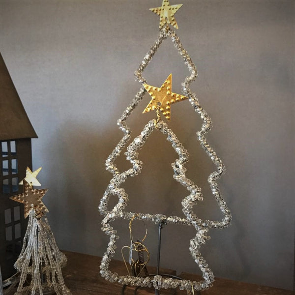Beaded Silver Outline Christmas Tree from Walther & Co, Denmark - Greige - Home & Garden - Chiswick, London W4