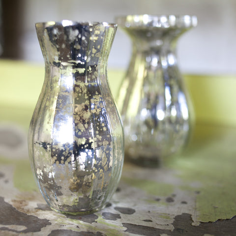 Mini Distressed Silver Glass Vase - Greige - Home & Garden - Chiswick, London W4