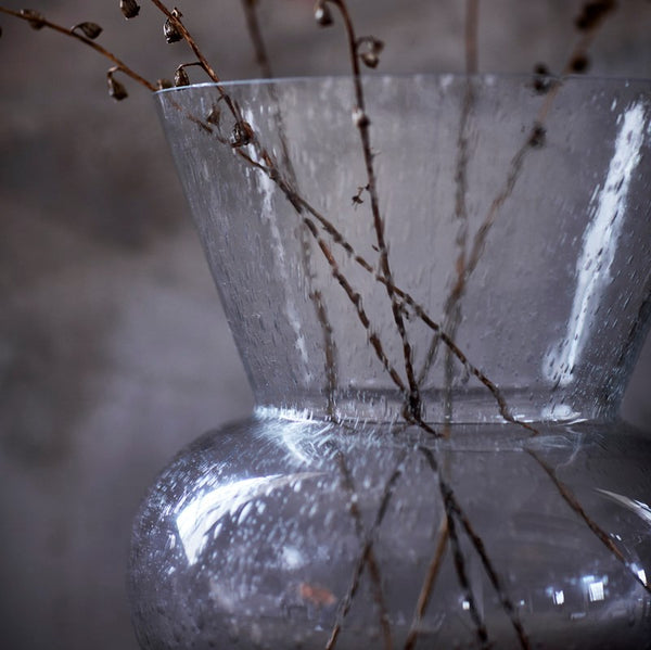 large clear glass vase with bubbles