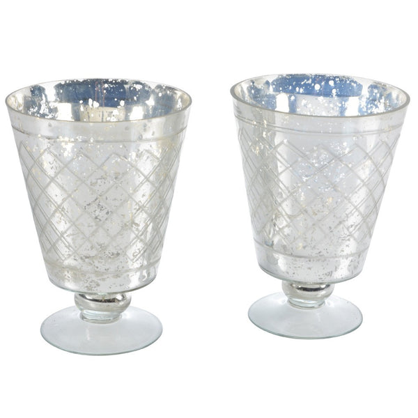 Footed Glass Hurricane in Antique Silver Finish - Greige - Home & Garden - Chiswick, London W4