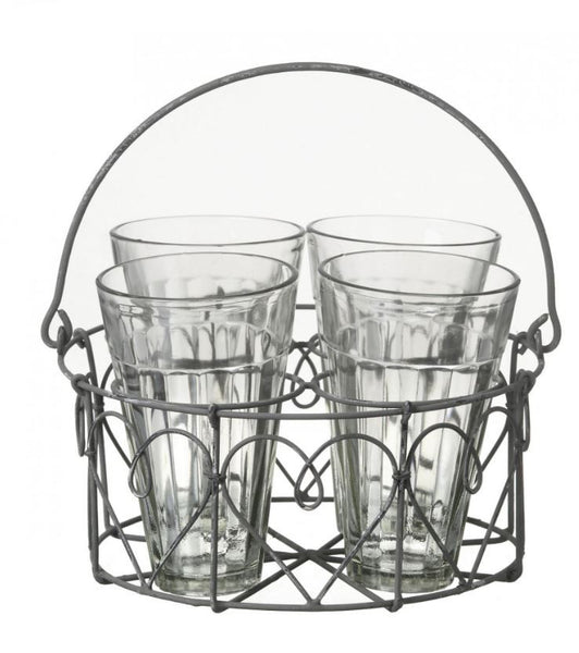 Dainty Wire Chai Glass Holder with 4 Glasses - Greige - Home & Garden - Chiswick, London W4