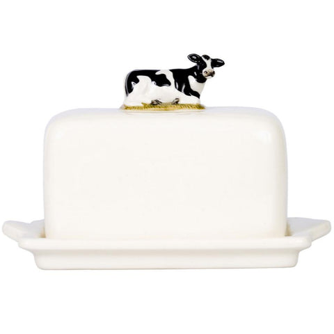 Fresian Cow Ceramic Butter Dish Quail Ceramics
