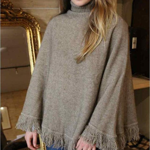 Noble Wilde Fringed Poncho - Greige - Home & Garden - Chiswick, London W4