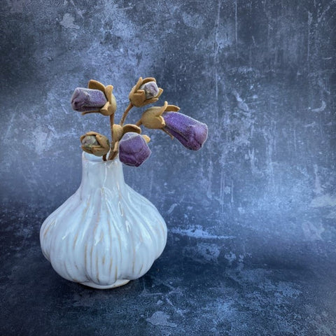 Ceramic Garlic Bud Vase - Two Sizes - Greige - Home & Garden - Chiswick, London W4