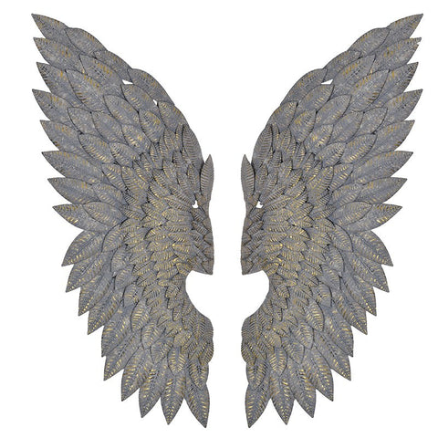 large gilt metal brass angel wings with grey wash finish