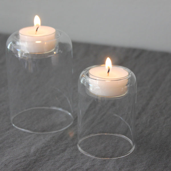 simple and elegant clear glass tealight holder