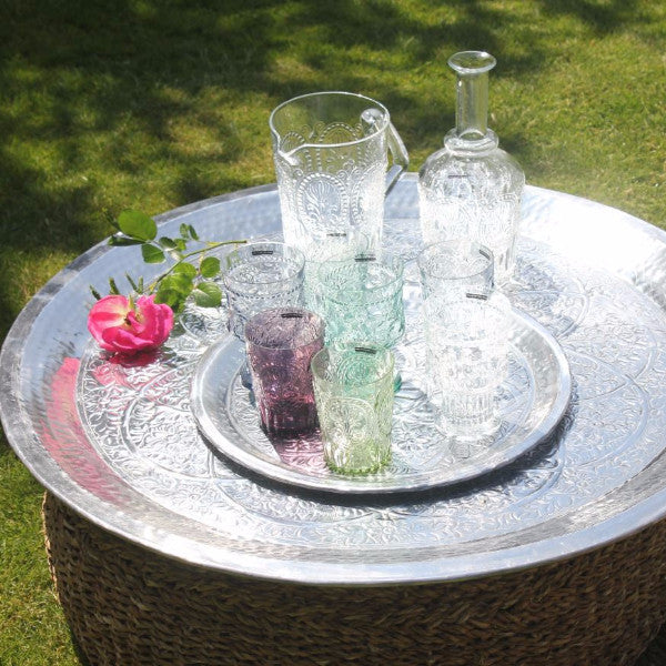 Large Hand Hammered Metal Trays - Indian Flower Design - Greige - Home & Garden - Chiswick, London W4