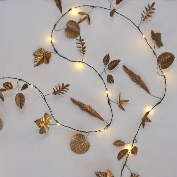 Leaves Garland Fairy Lights Gold Indoor Outdoor Use