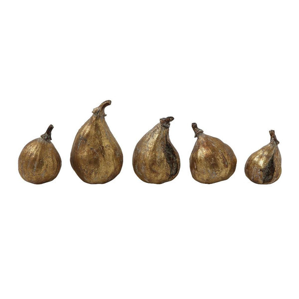 Set of Five Decorative Golden Figs