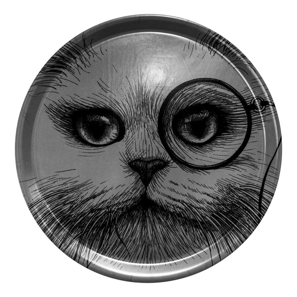 Rory Dobner - Circular Tray - Cat with Monocle - Grey - Greige - Home & Garden - Chiswick, London W4