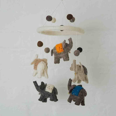 Grey Felt Elephant Mobile Fairtrade made in Nepal