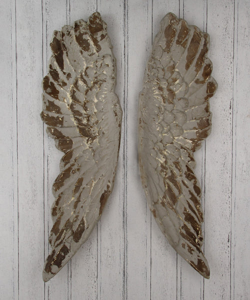 Large Rustic Antiqued Decorative Angel Wings Silver Or Grey