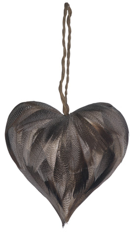 Feather Hanging Heart 12cm
