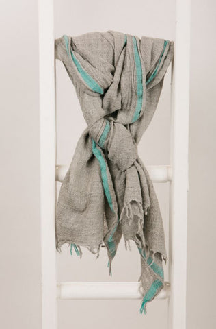 Grey Wool Blend Scarf with Striking Turquoise Border from Jo Edwards