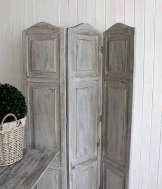 grey wooden room divider screen