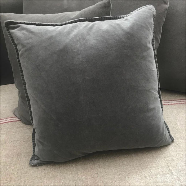 Grey Washed Velvet Cushion with Feather Filler - Greige - Home & Garden - Chiswick, London W4
