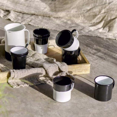 Black and White Enamelware Cups Mugs Beakers Jugs