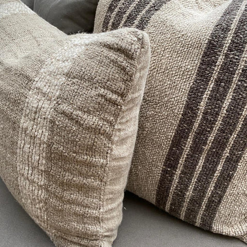 Linen Cushion - Natural with Charcoal Stripes - Olsson & Jensen