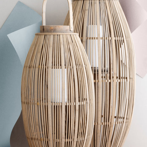"Broste Bamboo Wooden Lantern ""Aleta"" - Natural - Greige - Home & Garden - Chiswick, London W4"