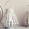 Whitewashed Natural Bamboo Lantern from Broste - Sally - Greige - Home & Garden - Chiswick, London W4