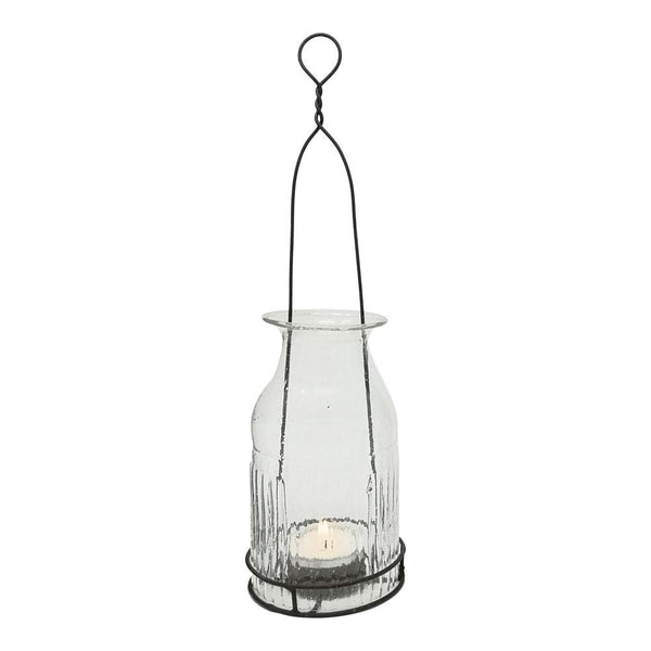 Hanging Recycled Glass Bottle Tealight Lantern - Greige - Home & Garden - Chiswick, London W4