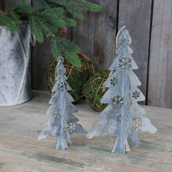 Hanging Antique Zinc Christmas Tree Decoration - Two Sizes - Greige - Home & Garden - Chiswick, London W4