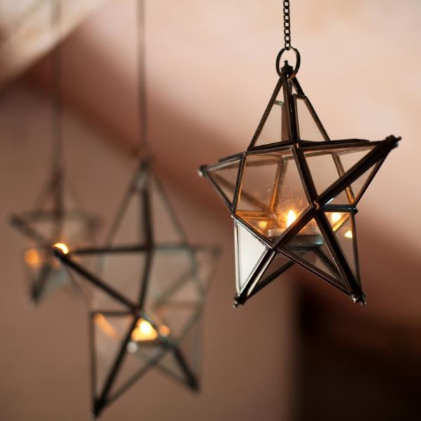 Hanging Zinc or Brass and Glass Star Tealight Holder