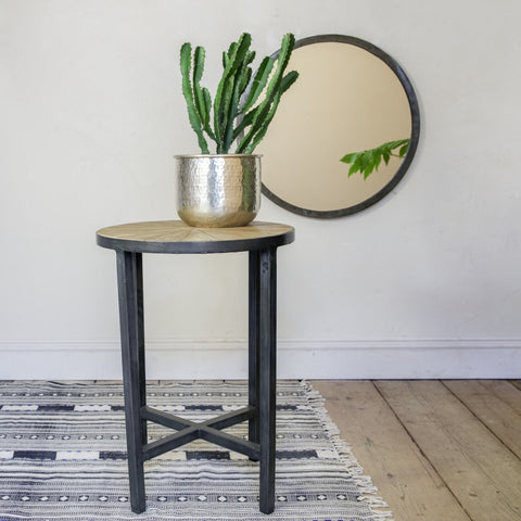 iron and mango wood side table