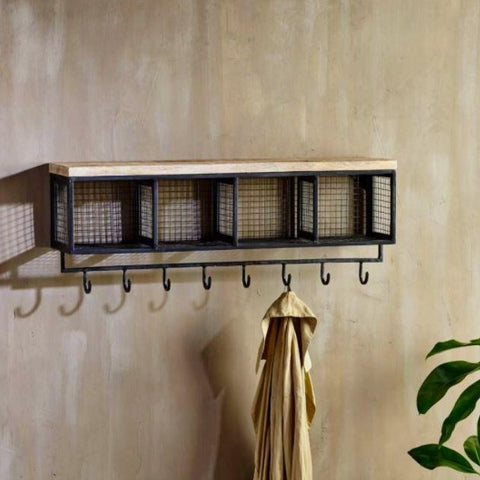 Industrial Mango Wood and Iron Wall Hung Unit Cubby Holes and Hooks