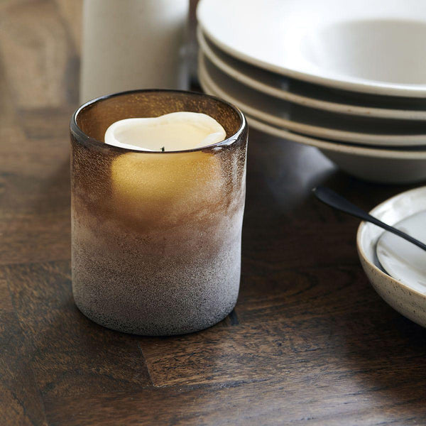 Heavy Glass Amber Coloured Frosted candle holder