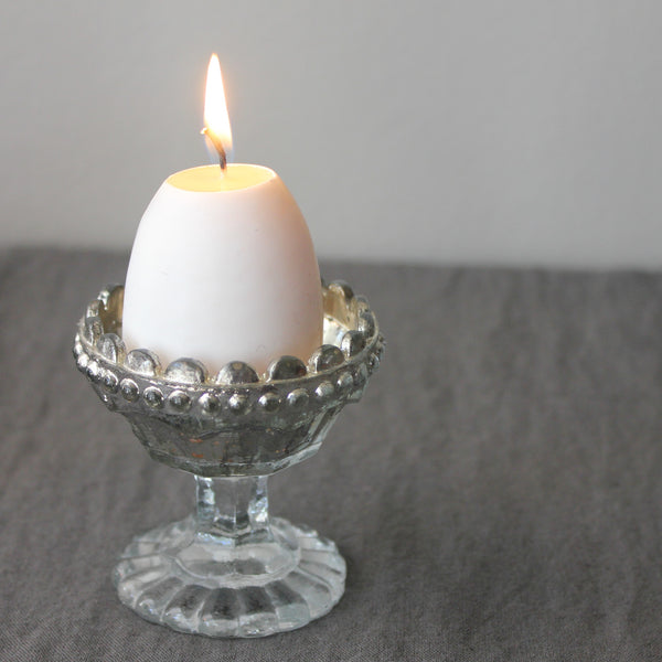 Egg Cup Shaped Silver Tealight Holder - Greige - Home & Garden - Chiswick, London W4