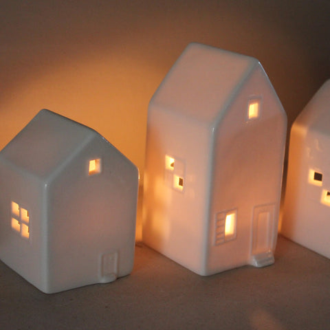 Ceramic Tealight Houses - Boxed Set of Three - Greige - Home & Garden - Chiswick, London W4